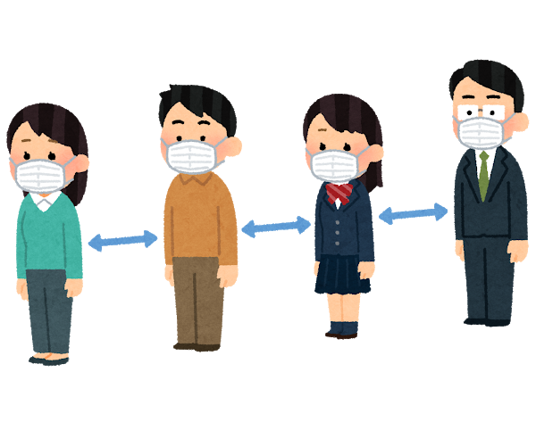 Gyouretsu_social_distance_hanareru_mask
